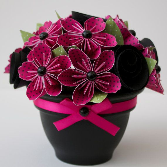 Potted Paper Flower Bouquet - Pink Polka Dottie