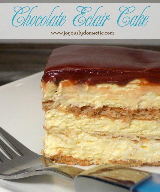 Joyously Domestic | No-Bake Chocolate Eclair Cake