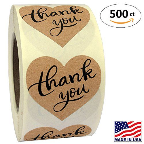 """50 Sheets Kraft Paper Thank You Card Christmas Gift: 1.5"""" Heart Shape Kraft Paper Thank You Adhesive Label, 50"""