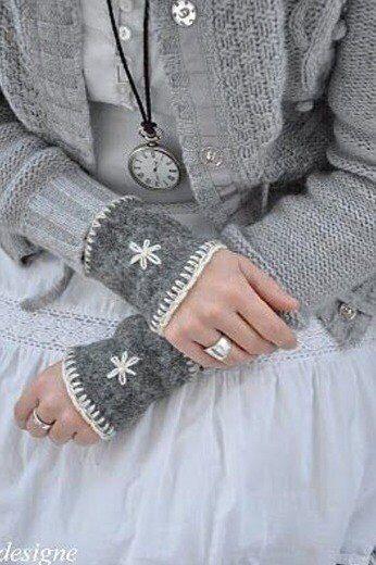 Upcycled wrist warmers