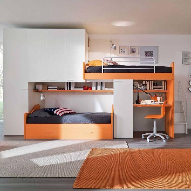 'Orange' Kid's bedroom furniture set with truckle-bunk beds by Siluetto (De My Italian Living)