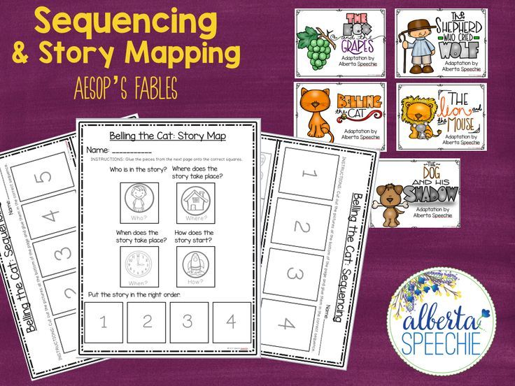Use stories to work on comprehension and sequencing with Aesop's fables.  Stories included.