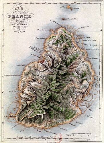 Map of Mauritius illustration from 'Paul et Virginie' by Dufour - art print from King & McGaw