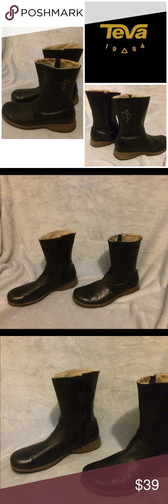 TEVA Black Leather Round Toe Boots For sale:Women's TEVA Black Round Toe Side Zipper Flat Boots. Size: 8M. Embroidered TEVA logo on the side of the boots. Excellent pre-owned condition. Soles are in excellent condition. Minimal wear on the inner shaft. Interested? Like, share, bundle, buy! Teva Shoes Ankle Boots & Booties