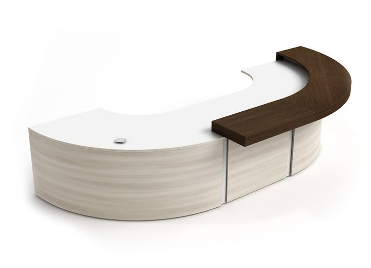 Reception Furniture - #SP-TYP C The Spheric Series from Logiflex is a modern reception desk that provides beautiful, flowing workspaces best suited for large lobbies and reception areas.. This curved reception desk is a great choice for those who value a blend of functionality and an elegant aesthetic style.
