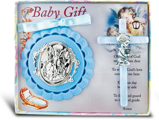 39 best baby gifts images on pinterest catholic baby gifts and reginas catholic gifts guardian angel crib medal with 3 12 pearlized baby negle Images
