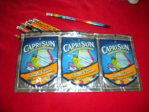 recycled!Pencil Pouch, Drinks Crafts Ideas, Drinks Drinks, Capri Sun, Drinks Pouch Crafts, Pencil Cases, Pencil Holders, Pre Mixed, Mixed Drinks