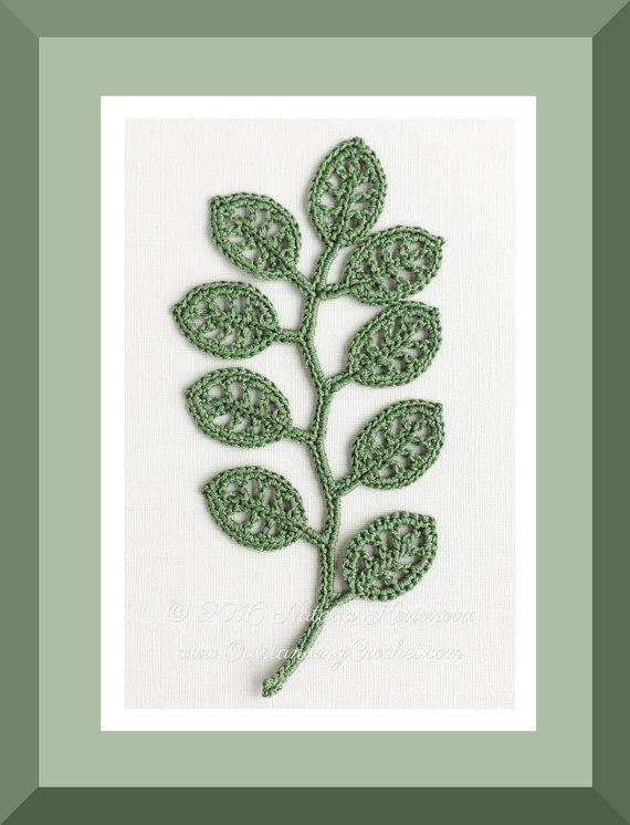 Outstanding Crochet: New crochet pattern - Irish Crochet Lace Motif - Branch - Applique, Wall decor.