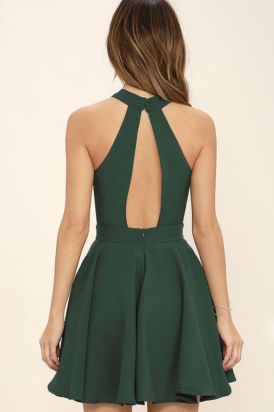 Lächeln süß Waldgrün Skater Kleid   – vestidos – #Kleid #lächeln #Skater #s…