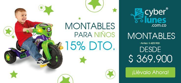 Aprovecha los descuentos que tenemos en montables para niño :D en #Cyberlunes http://www.greenclick.com/infantil/