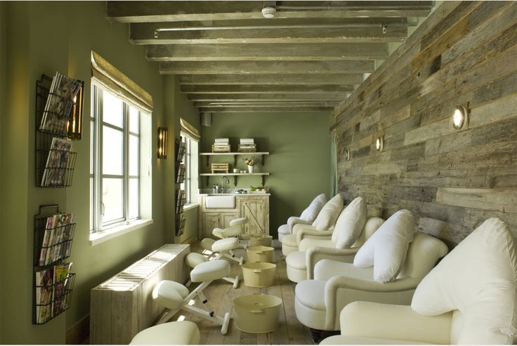 pedicure treatment room  great style- love chairs, barn wood wall, sink area, psoas chairs, too cottage-y and quaint