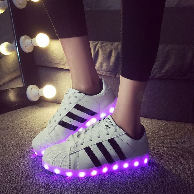 woman LED Light USB Lace Up Sneaker Sportswear Striped Luminous Casual Shoes #Un…