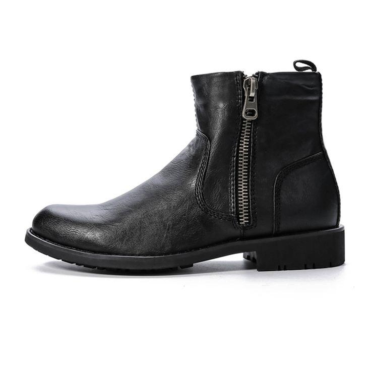 Men's Rubber Work Boots New Mans Black/Brown Zipper Ankle Boots With Short Fur Top Fashion Winter Shoes Plus Size 40-45