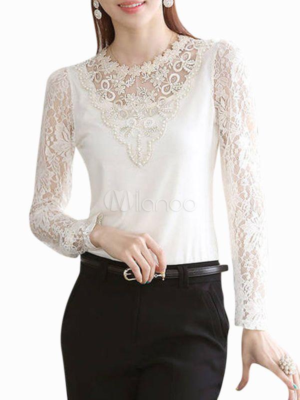 Blusa blanca de encaje con escote alto - Milanoo.com