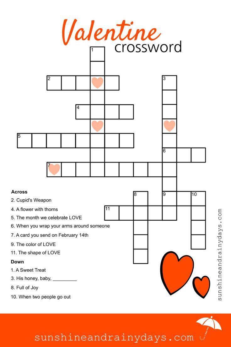 Valentine Crossword Puzzle Valentine Printables Kids Valentines Printables Crossword