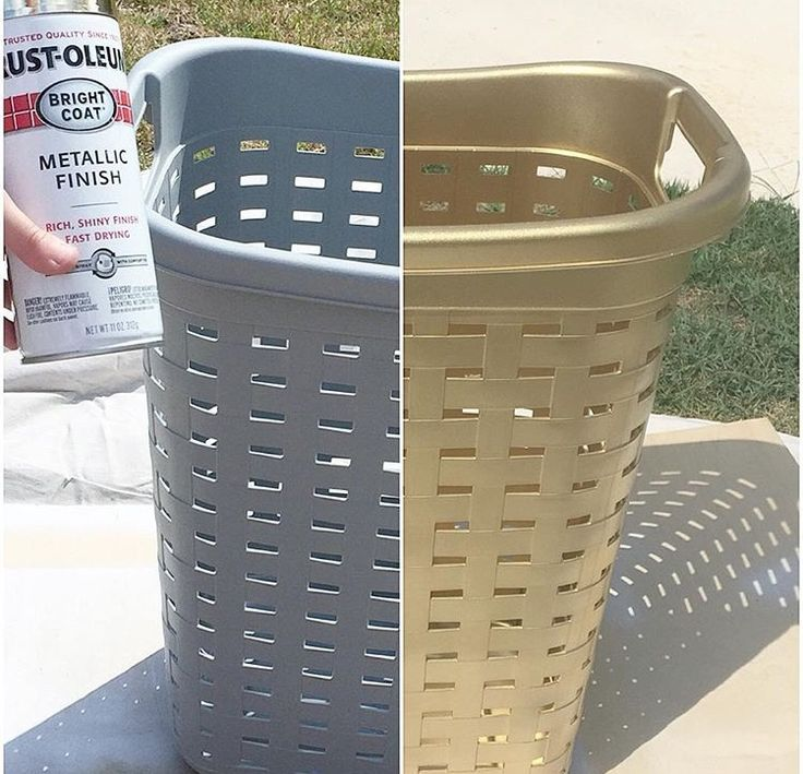 Krylon Metallic paint on plastic laundry basket really classes it up!!!