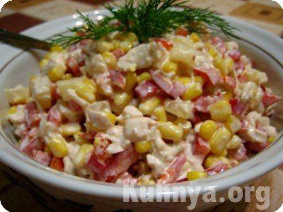 Ананасовый салат с курицей рецепт