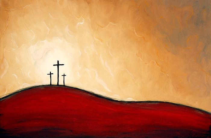 Cross painting for god so loved the world that he gave for Christian mural paintings