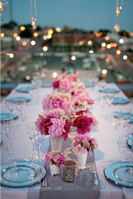 Dinner party setting: Wedding Tables, Pink Flowers, Tables Sets, Flowers Centerpieces, Tiffany Blue, Dinners Parties, Parties Ideas, Head Tables, Pink Peonies