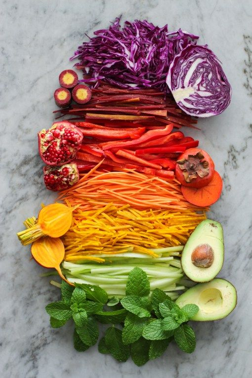 rainbow summer rolls - vegan rice paper wrappers filled with noodles, veggies, fruit and herbs