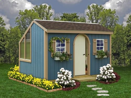 Clairmont Wood Storage Shed Kit: greenhouse shed combo, 12x8 no listed height. $4,285 delivered, including floor. Primed paneling, wood fiber pressed into molded resin. #woodshedkits
