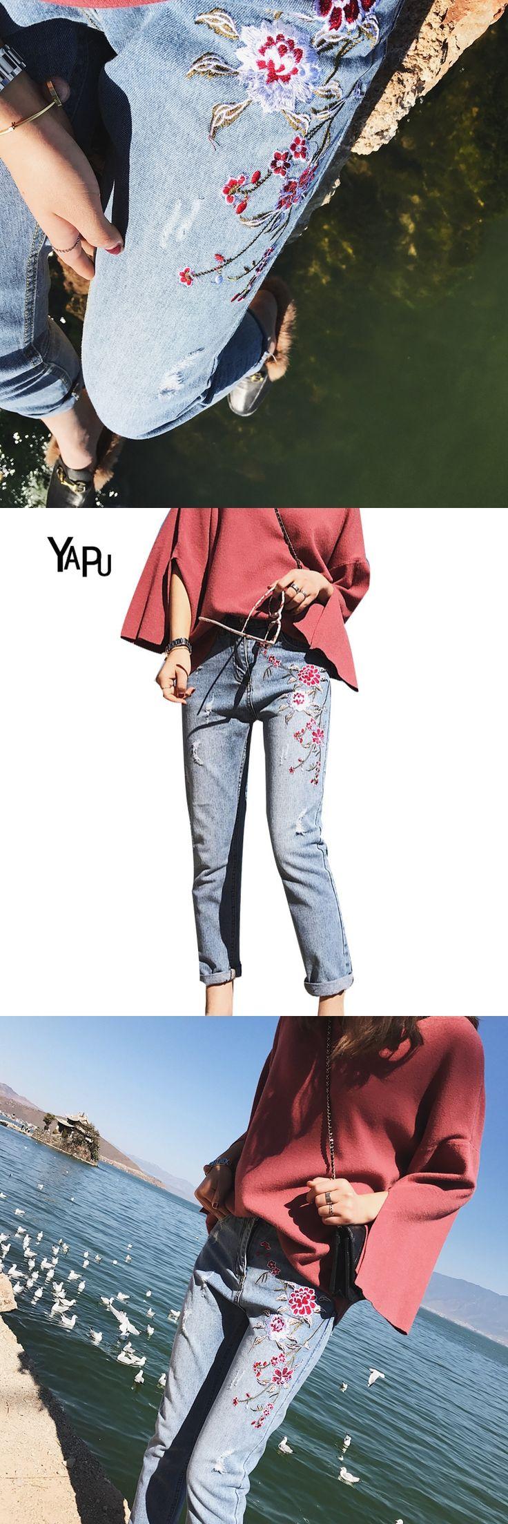 YAPU Floral embroidery jeans female Winter zipper straight denim pants jeans women Fashion pocket light blue trousers jeans