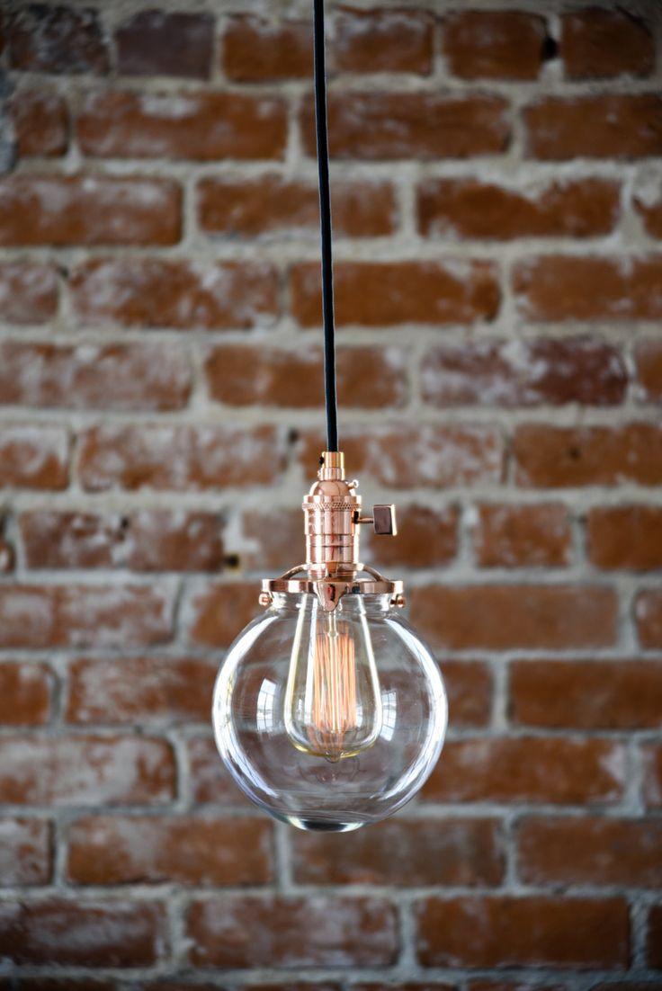 "Free Shipping! Plug In Pendant Lighting Copper - 6"" Clear Glass Globe - Cloth Wire -  Edison Bulb Compatible"