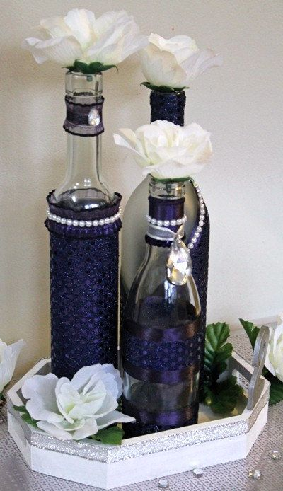 Set3 decorated wine bottle centerpiece lapis by Wine bottle wedding centerpieces