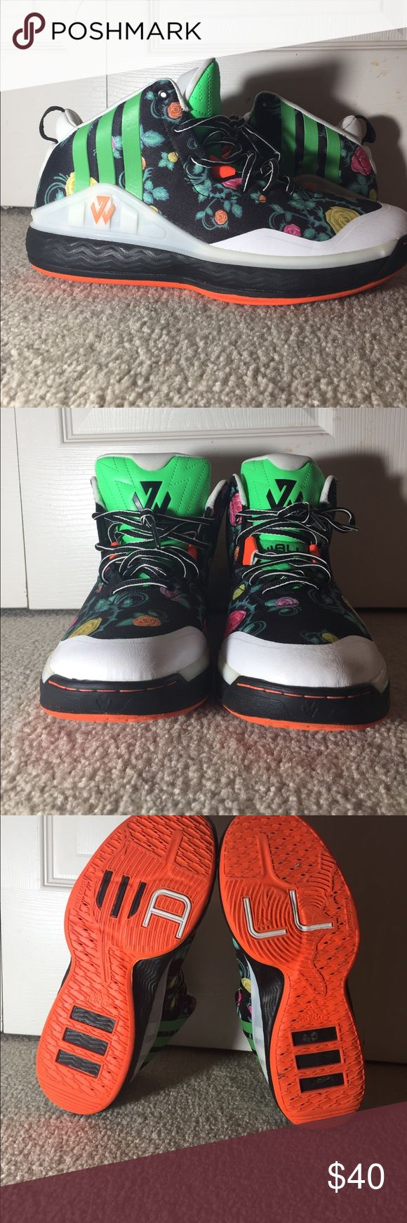 John Wall 1 Floral Size 10 John Wall 1 Floral Size 10 lightly worn. Ripped threads in the back(look at photos).No box. Adidas Shoes Sneakers