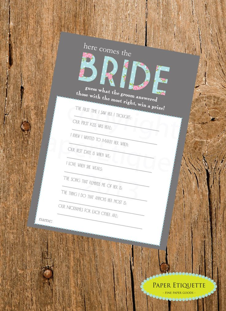 bridal shower invitations registry etiquette%0A INSTANT UPLOAD  Bridal Shower Game  Here Comes