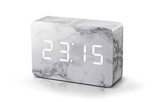 Click Clock Brick Marble Clock White LED