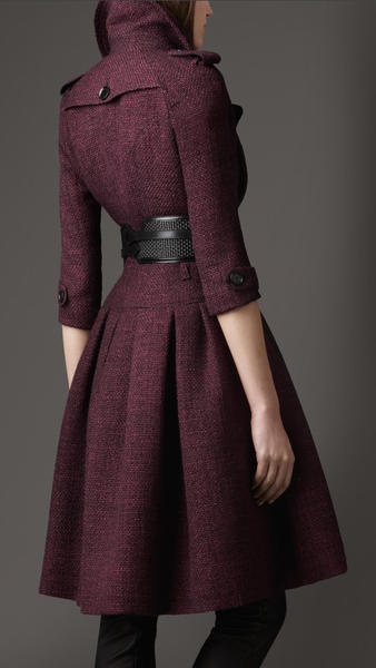 Burberry Full Skirted Tweed Coat in Purple (elderberry).