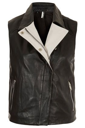 Contrast Leather Sleeveless Biker Jacket  Topshop USA