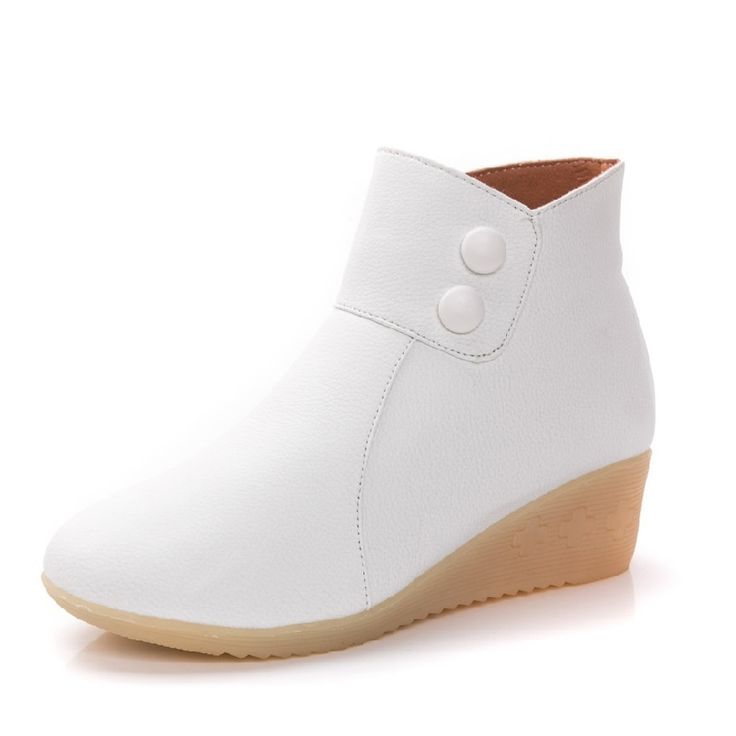 28.22$  Watch now  - New Single Boots Women Leather Boots Comfortable Soft Bottom Nurse Shoes Female 2017 Fashion Ankle Boots A135