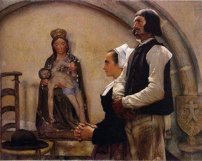 """Peintures des Musées de France: QUIMPER    """"visite à la Vierge de Bénodet"""" de Jean Eugène BULAND"""