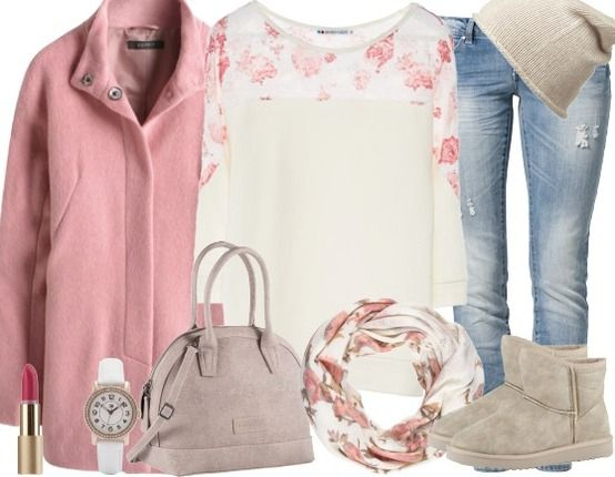 Süßes Outfit mit rosa Mantel ♥ stylefruits Inspiration ♥ #mantel #pastell #rosa #jeans #boots