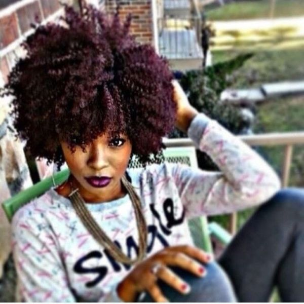 burgundy highlights on kinky black hair | deep violet burgundy red wine hair color on kinky curly natural hair ...