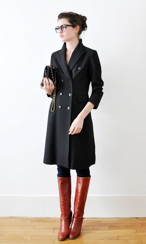 Love the red boots and black coat. If only I could wear tall boots, love my  big calf muscles except during boot season.