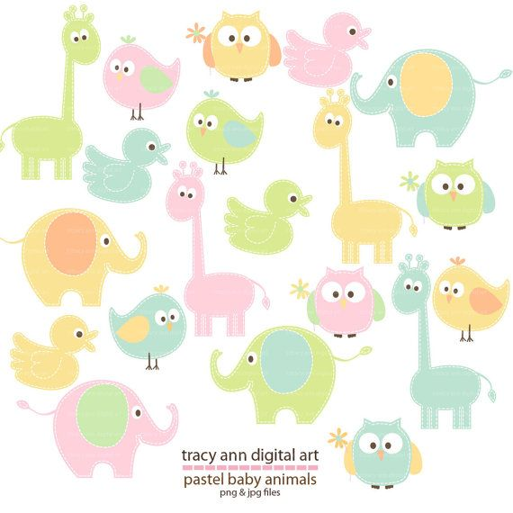 Jungle animales baby elephants animal inspiration animales clipart - Pastel Animal Clip Art Baby Animal Clipart Giraffe
