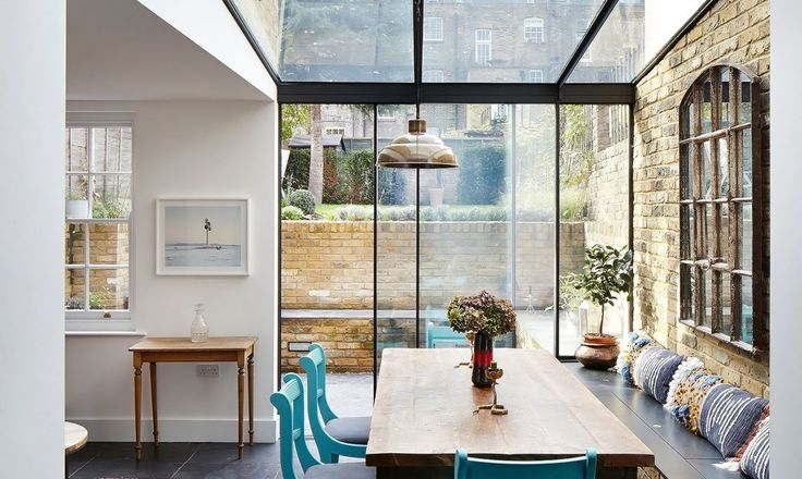 The owners, a couple who live with friends, commissioned HÛT to design new spaces for entertaining and relaxing and improve the relationship between the internal spaces and the rear garden.
