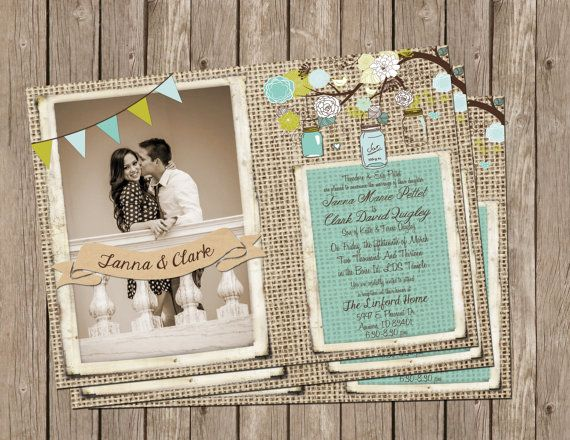 Rustic Burlap Wedding Invitation In White Aqua And Lime With Banner And  Tree Branch With Flowers And Mason Jars   Printable 5x7