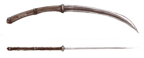 The shorter variant was called sica (sickle) in the Dacian language (Valerius Maximus, III,2.12) with a blade length that varied but usually around 16 inches (41 cm) long with a handle 1/3 longer than the blade.    The two-handed falx was more of a pole-arm. It consisted of a 3 feet (0.91 m) long wooden shaft with a long curved iron blade of nearly-equal length attached to the end.