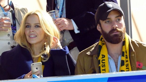 It's official: Kylie Minogue and Joshua Sasse at the Rugby World Cup on Saturday.