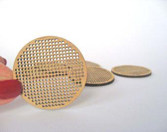Conjunto de 3, Cruz colgante de Stitch, círculo de 50 m m, cruz puntada en blanco, en blanco de madera contrachapada, colgante, pendiente, broche, collar, corte láser
