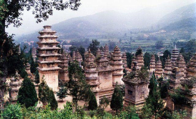 The pagoda forest at the Shaolin Temple (Luoyang, China). Each pagoda represented a significant Shaolin monk. This was also where Kung Fu originated.