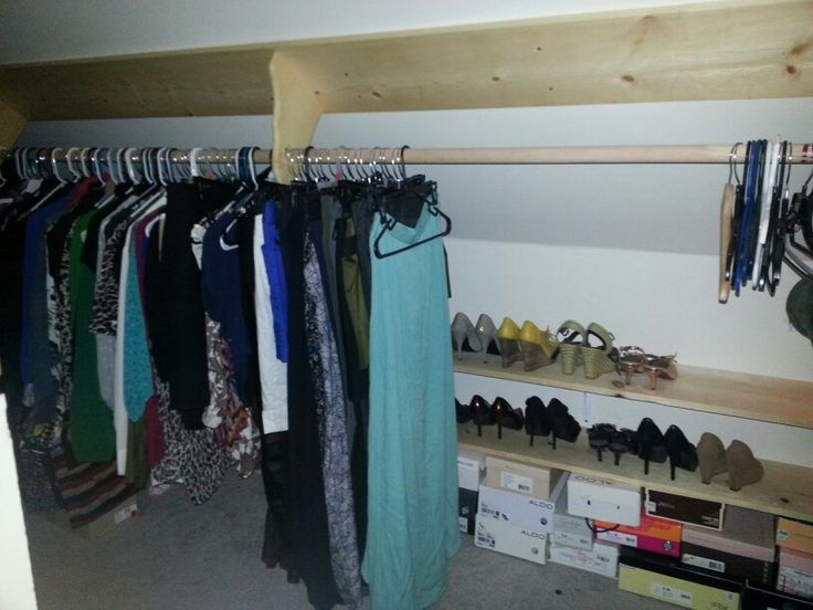 Attractive Slanted Ceiling Closet: Clothes In Front, Shelves For Shoes, Etc In Back