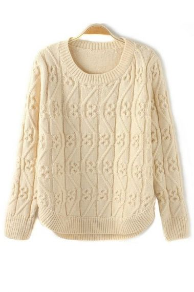 Vintage Vertical Twisting Wave Pullover Sweater