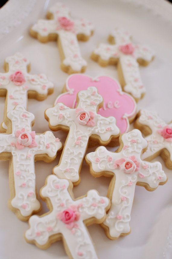 12 Christening or First Communion Cookies Cross by MarinoldCakes, $40.00