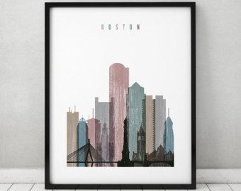 Boston Wall Art, Print, Boston Skyline Art, Travel Decor, Distressed Poster,