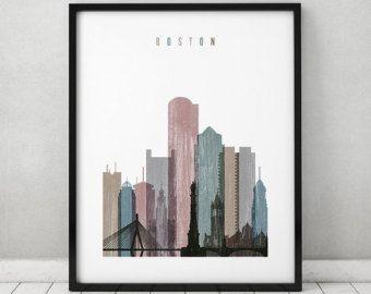 Boston wall art, print, Boston skyline art, Travel decor, distressed poster, Massachusetts art, City print, Home Decor, ArtPrintsVicky
